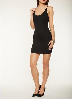 Ponte Knit Tank Dress - BLACK - 1410069393815
