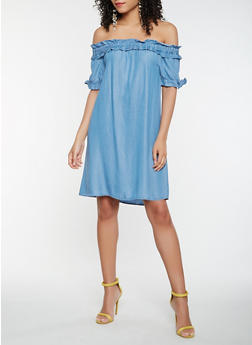 Off the Shoulder Chambray Shift Dress - 1410069393836