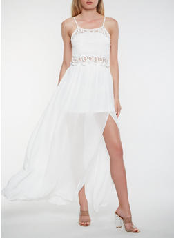 Open Back Crochet Maxi Dress - 1410069393852