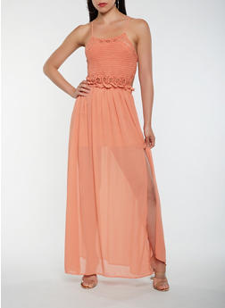 Open Back Crochet Maxi Dress - 1410069393852