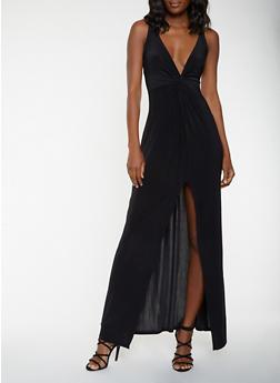 Twist Front Maxi Dress - BLACK - 1410069393867