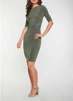 Twist Front Bodycon Dress - 1410069393870