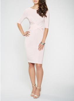 Twist Front Bodycon Dress - 1410069393870
