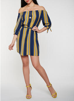 Striped Off the Shoulder Belted Dress - 1410069393881