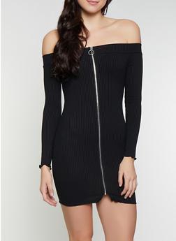 Off the Shoulder Zip Front Dress - 1410069393885