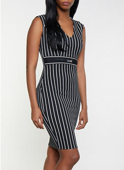 Striped Textured Knit Bodycon Dress - 1410069393996