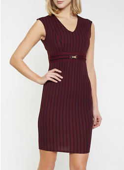 Striped Textured Knit Bodycon Dress - 1410069393996