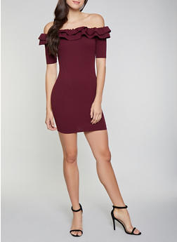 Ruffled Off the Shoulder Bodycon Dress - 1410069394005
