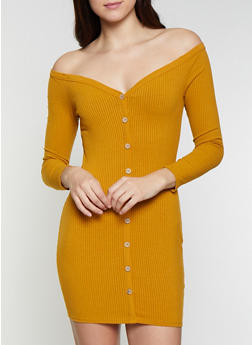 Off the Shoulder Rib Knit Dress - 1410069394010