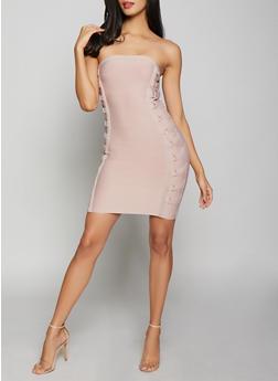 Lace Up Tube Bandage Dress - 1410069394017