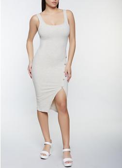 Ribbed Knit Button Detail Tank Dress - 1410069394065