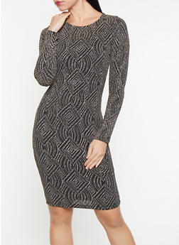 Glitter Knit Long Sleeve Dress - 1410069394075