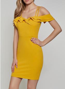 Ruffled Double Strap Bodycon Dress - 1410069394103