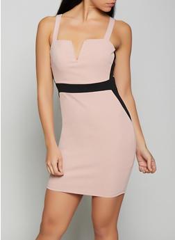 Color Block Bodycon Dress - 1410069394105