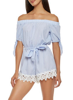 Striped Off the Shoulder Romper - 1410069394107