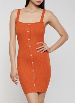 Square Neck Button Dress - 1410069394129