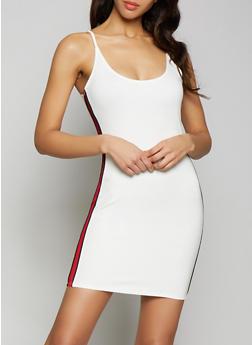 Striped Side Tape Bodycon Dress - 1410069394157