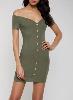 Button Detail Off the Shoulder Dress - 1410069394163