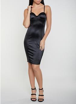 Satin Bustier Midi Dress - 1410069394164