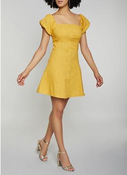 Faux Button Linen Skater Dress - 1410069394180