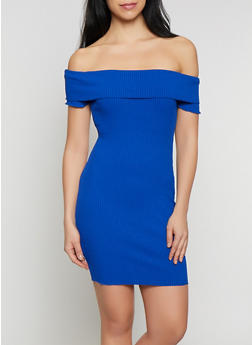 Fold Over Off the Shoulder Bodycon Dress - 1410069394183