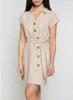 Button Front Linen Shirt Dress - 1410069394199