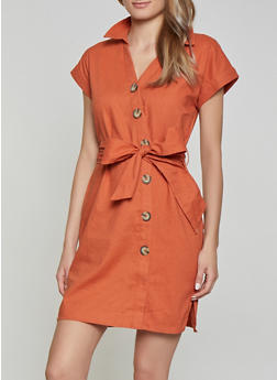 Button Front Linen Shirt Dress - 1410069394199