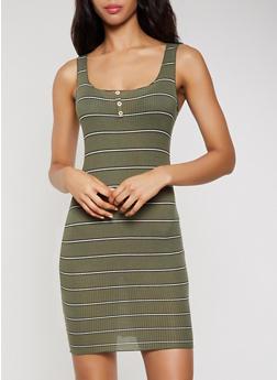 Rib Knit Striped Lettuce Edge Tank Dress - 1410069394203