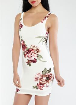 Floral Knit Tank Dress - 1410069394285