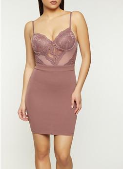Lace Bodice Bustier Dress - 1410069394288