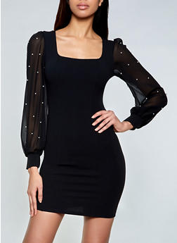 Faux Pearl Studded Sleeve Dress - 1410069394382