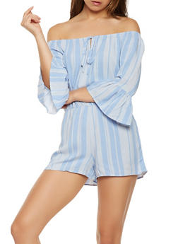 Striped Off the Shoulder Romper - 1410069394397