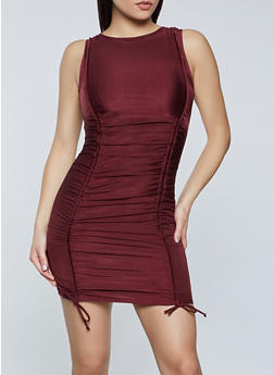 Ruched Drawstring Front Dress - 1410069394419