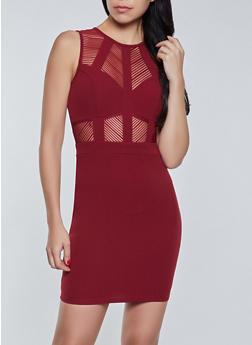 Shadow Stripe Insert Bodycon Dress - 1410069394425