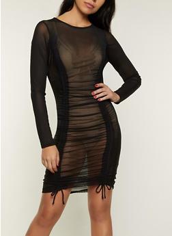 Drawstring Mesh Dress - 1410069394428