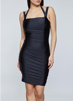 Ruched Halter Bodycon Dress - 1410069394458