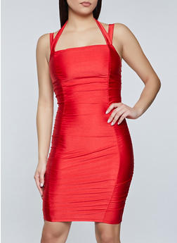 Ruched Halter Bodycon Dress - 1410069394458