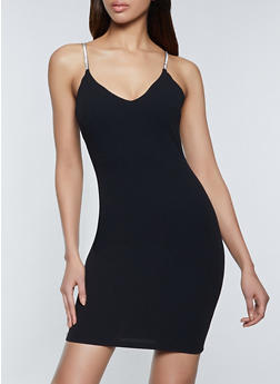 Rhinestone Strap Bodycon Dress - 1410069394462