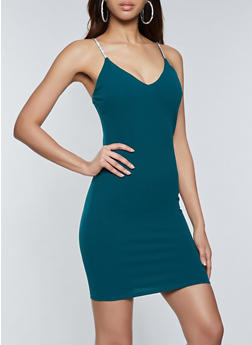 Rhinestone Strap Bodycon Dress - 1410069394462