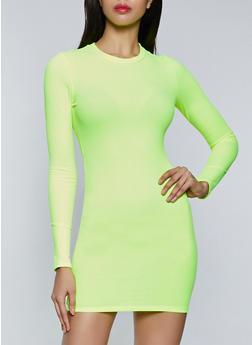 Rib Knit Long Sleeve Dress - 1410069394468