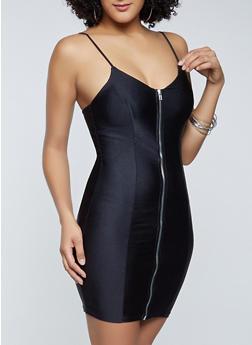Zip Front Spandex Cami Dress - 1410069394512