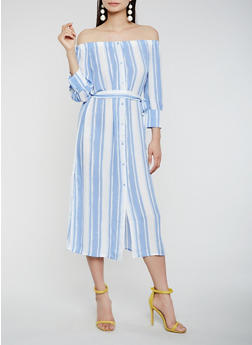 Striped Off the Shoulder Dress - 1410069394761