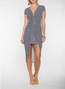 Striped Twist Front High Low Dress - 1410069394895