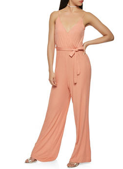 Ribbed Knit Wide Leg Jumpsuit - 1410069395123