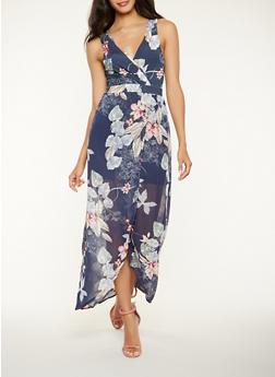 Floral Tulip Hem Maxi Dress - 1410069395340