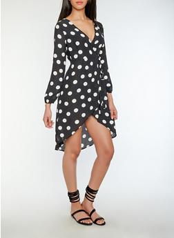 Polka Dot Wrap Dress - 1410069396214