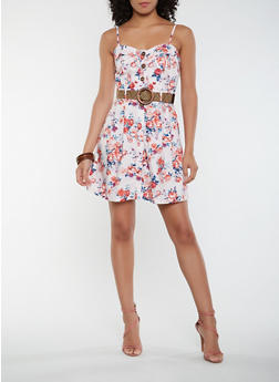 Floral Belted Skater Dress - 1410069396494