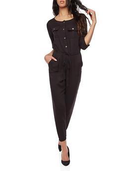 Button Front Jumpsuit - 1410069396819