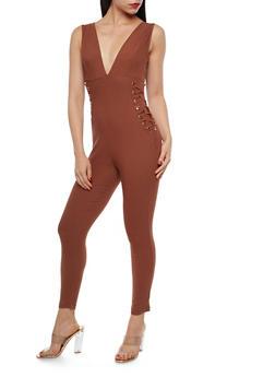 Plunging Lace Up Sides Jumpsuit - 1410069396843