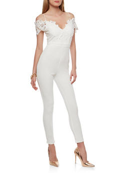Crochet Off the Shoulder Jumpsuit - 1410069396915